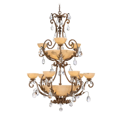 Frederick Ramond Chandelier with Alabaster Glass in French Marble Finish FR44107FRM