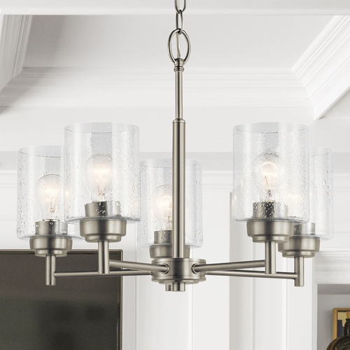 Kichler Lighting Seeded Glass Mini-Chandelier Brushed Nickel Winslow by Kichler Lighting 44030NI
