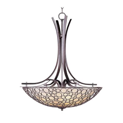 Maxim Lighting Pendant Light with White Glass in Umber Bronze Finish 21344DWUB