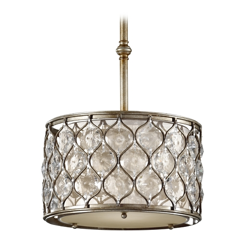 Feiss Lighting Pendant Light with Beige / Cream Shade in Burnished Silver Finish P1259BUS