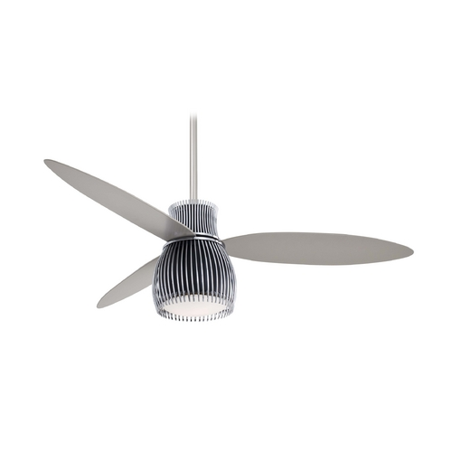 Minka Aire Modern Ceiling Fan with Light with White Glass in Chrome Finish F824-BK/CH