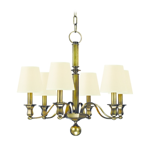 Hudson Valley Lighting Chandelier with White Shades in Aged Brass Finish 1416-AGB-WS