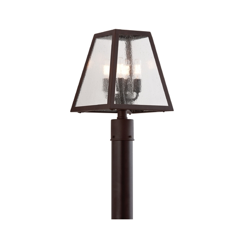 Troy Lighting Post Light with Clear Glass in River Valley Rust Finish PCD3435