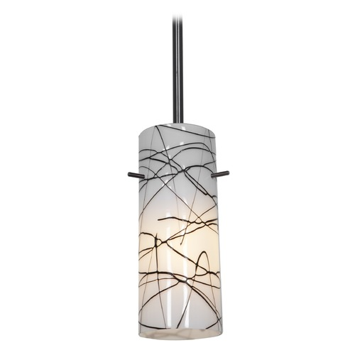 Access Lighting Modern Mini-Pendant Light with White Glass 28030-1R-ORB/BLWH