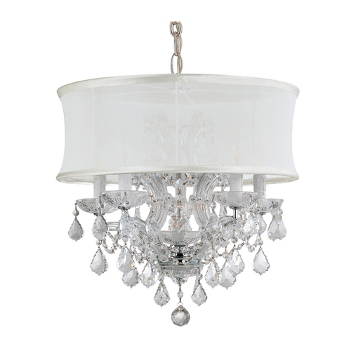 Crystorama Lighting Modern Drum Pendant Light with White Shade in Antique Nickel Finish 4415-CH-SMW-CLM