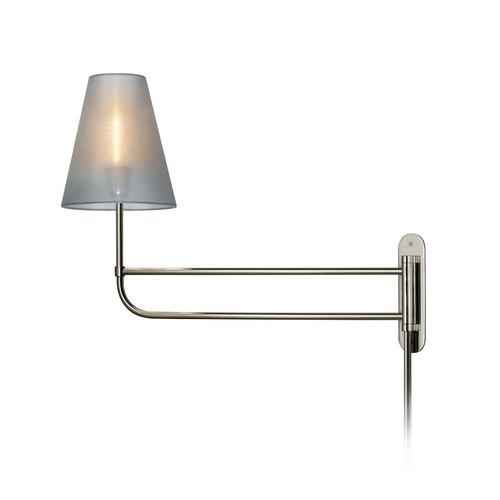 Sonneman Lighting Swing Arm Lamp with Silver Shade in Polished Nickel Finish 1961.35