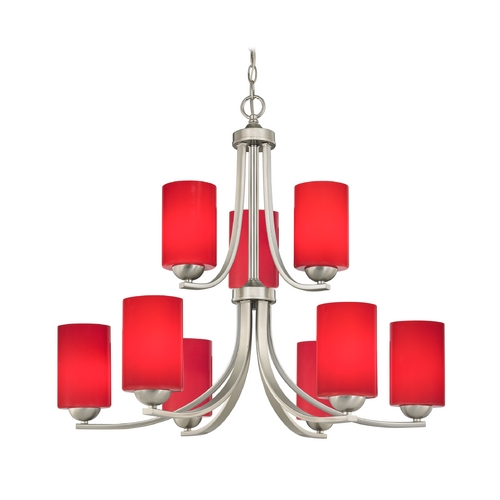 Design Classics Lighting Contemporary Five Light Chandelier with Red Cylinder Glass 586-09 GL1008C