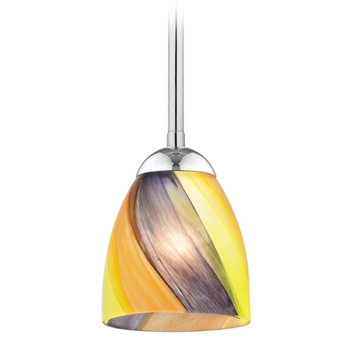 Design Classics Lighting Design Classics Gala Fuse Chrome LED Mini-Pendant Light with Bell Shade 681-26 GL1015MB