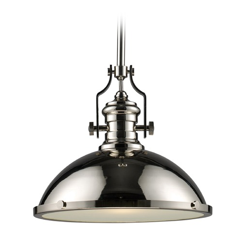 Elk Lighting Elk Lighting Chadwick Polished Nickel LED Pendant Light with Bowl / Dome Shade 66118-1-LED