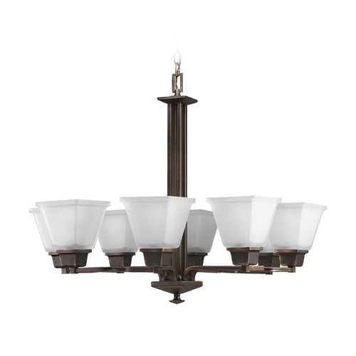Progress Lighting Progress Chandelier with White Glass in Venetian Bronze Finish P4004-74