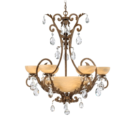 Frederick Ramond Chandelier with Alabaster Glass in French Marble Finish FR44102FRM