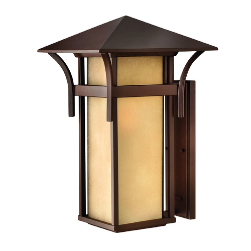 Hinkley Etched Amber Seeded Glass LED Outdoor Wall Light Bronze Hinkley 2579AR-LED