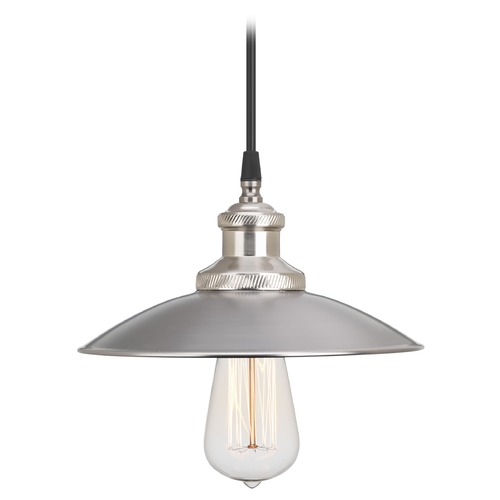 Progress Lighting Progress Lighting Archives Antique Nickel Mini-Pendant Light with Conical Shade P5161-81