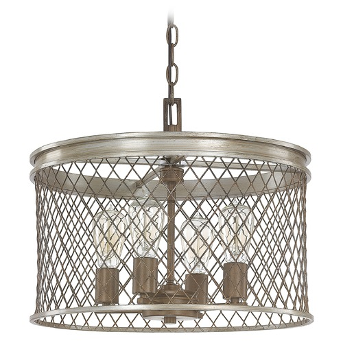 Capital Lighting Capital Lighting Eastman Silver and Bronze Pendant Light with Drum Shade 4884SZ