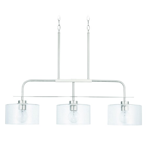 HomePlace by Capital Lighting HomePlace Independent Brushed Nickel 3-Light Island Light with Clear Seeded Glass 838435BN