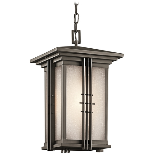 Kichler Lighting Kichler Outdoor Hanging Light with White Glass in Olde Bronze Finish 49161OZ