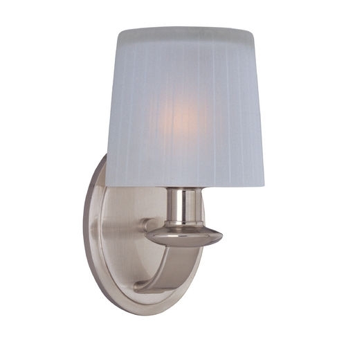 Maxim Lighting Sconce Wall Light with White Glass in Satin Nickel Finish 21507FTSN