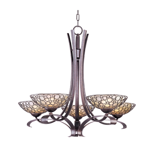 Maxim Lighting Chandelier with White Glass in Umber Bronze Finish 21345DWUB