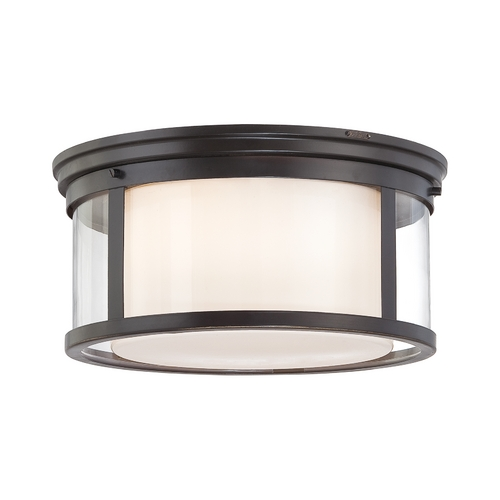 Quoizel Lighting Modern Flushmount Light with White Glass in Palladian Bronze Finish WLS1615PN