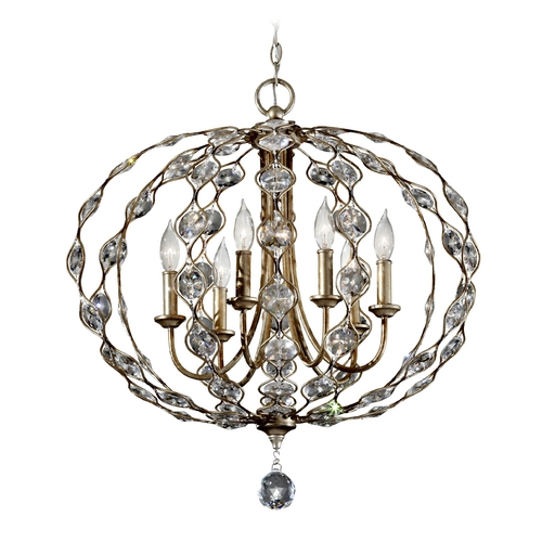 Feiss Lighting Crystal Chandelier in Burnished Silver Finish F2740/6BUS