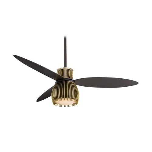 Minka Aire Modern Ceiling Fan with Light with White Glass in Oil Rubbed Bronze Finish F824-ORB/TB