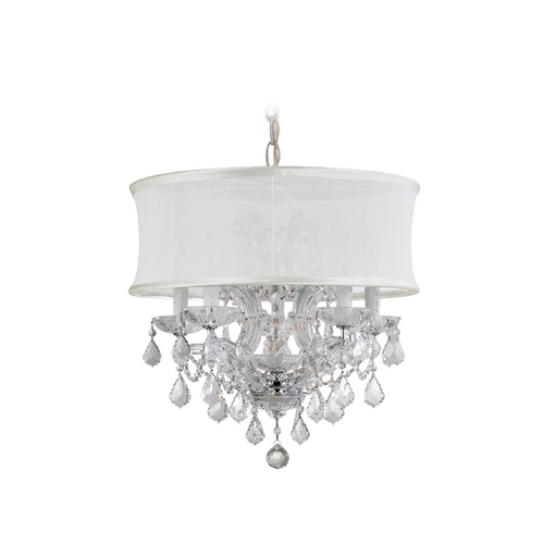 Crystorama Lighting Crystal Mini-Chandelier with White Shade in Polished Chrome Finish 4415-CH-SMW-CLQ
