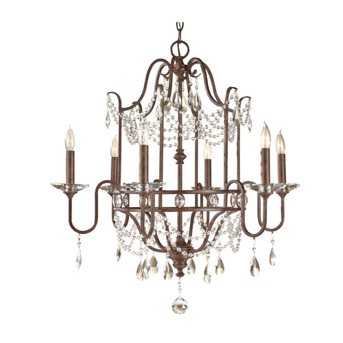 Feiss Lighting Crystal Chandelier in Mocha Bronze Finish F2475/6MBZ