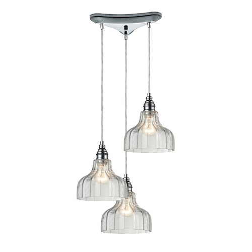Elk Lighting Multi-Light Pendant Light with Clear Glass and 3-Lights 46018/3