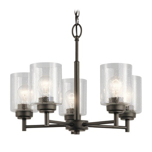 Kichler Lighting Seeded Glass Mini-Chandelier Olde Bronze Winslow by Kichler Lighting 44030OZ