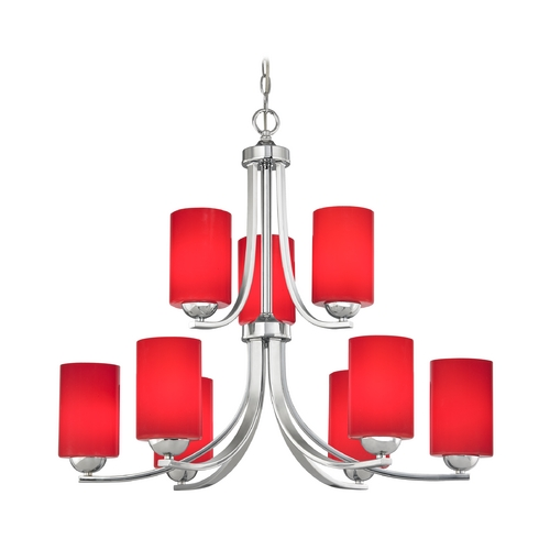 Design Classics Lighting Modern 2-Tier 9-Light Chandelier with Red Cylinder Glass in Chrome 586-26 GL1008C
