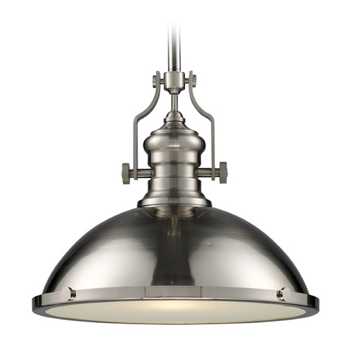 Elk Lighting Elk Lighting Chadwick Satin Nickel LED Pendant Light with Bowl / Dome Shade 66128-1-LED