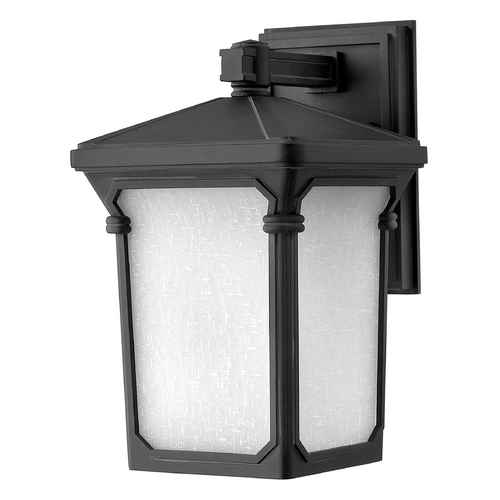 Hinkley Lighting Outdoor Wall Light with White Glass in Museum Black Finish 1350MB-GU24