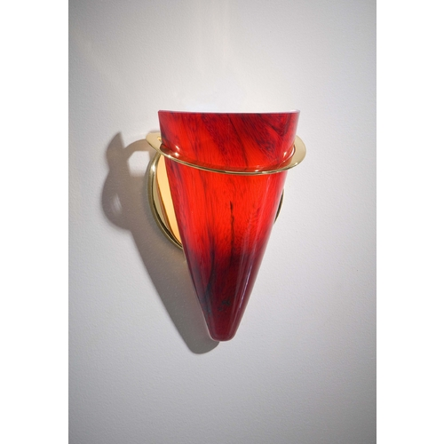 Holtkoetter Lighting Holtkoetter Modern Sconce Wall Light with Red Glass in Polished Brass Finish 2977 PB MGR