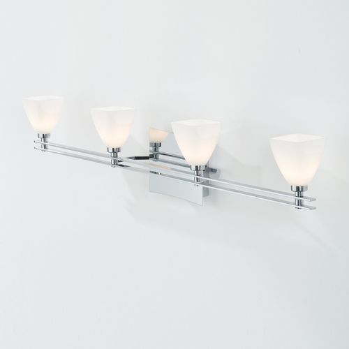 Holtkoetter Lighting Holtkoetter Modern Bathroom Light with White Glass in Chrome Finish 5584 CH G5015