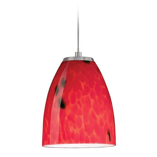 Elk Lighting Low Voltage LED Mini-Pendant Light with Red Glass PF1000/1-LED-BN-FR