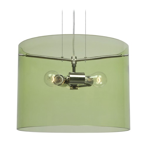 Besa Lighting Besa Lighting Pahu Satin Nickel Pendant Light with Drum Shade 1KG-L00707-SN-NI