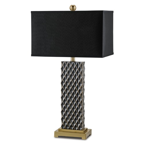 Currey and Company Lighting Currey and Company Venturi Black/coffee Bronze Table Lamp with Rectangle Shade 6630