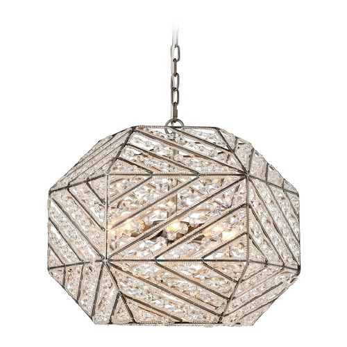 Elk Lighting Elk Lighting Constructs Weathered Zinc Pendant Light with Hexagon Shade 11837/8