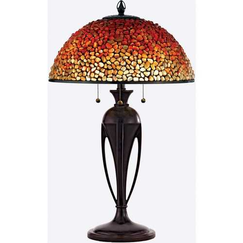 Quoizel Lighting Table Lamp with Multi-Colored Glass in Burnt Cinnamon Finish TF135TBC