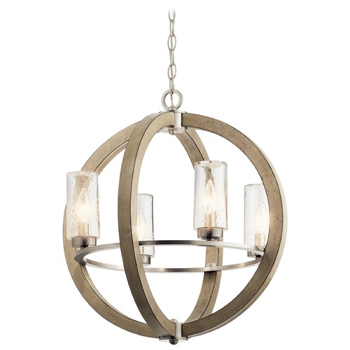 Kichler Lighting Grand Bank Distressed Antique Gray 4-Light Outdoor Chandelier with Clear Seeded Glass 49791DAG