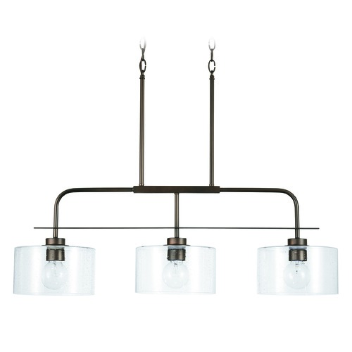 HomePlace by Capital Lighting HomePlace Independent Bronze 3-Light Island Light with Clear Seeded Glass 838435BZ