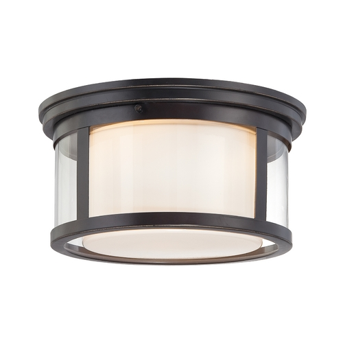 Quoizel Lighting Modern Flushmount Light with White Glass in Palladian Bronze Finish WLS1613PN