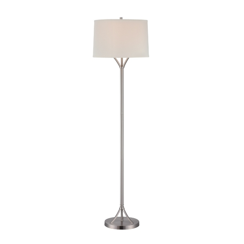 Lite Source Lighting Lite Source Lighting Gemma Polished Steel Floor Lamp with Drum Shade LS-81990PS/WHT