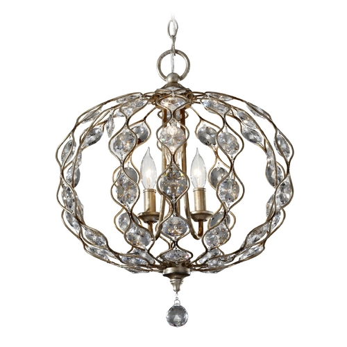 Feiss Lighting Crystal Chandelier in Burnished Silver Finish F2741/3BUS