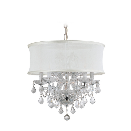 Crystorama Lighting Crystal Mini-Chandelier with White Shade in Polished Chrome Finish 4415-CH-SMW-CLS
