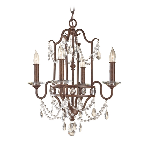 Feiss Lighting Crystal Chandelier in Mocha Bronze Finish F2476/4MBZ