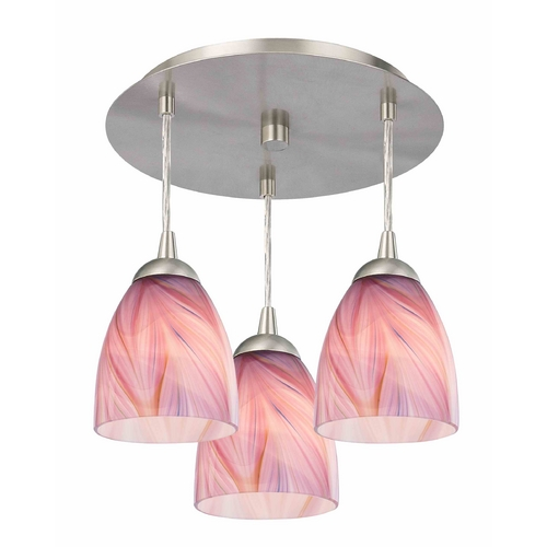 Design Classics Lighting 3-Light Semi-Flush Ceiling Light with Pink Art Glass - Nickel Finish 579-09 GL1004MB