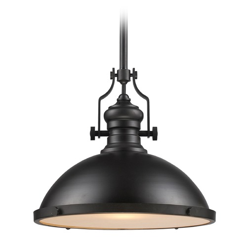 Elk Lighting Elk Lighting Chadwick Oiled Bronze LED Pendant Light with Bowl / Dome Shade 66138-1-LED