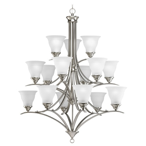 Progress Lighting Progress Chandelier with White Glass in Brushed Nickel Finish P4365-09