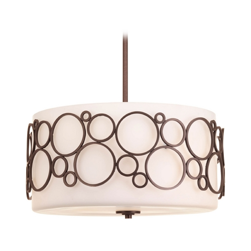 Progress Lighting Progress Pendant Light with White Glass in Venetian Bronze Finish P5014-74